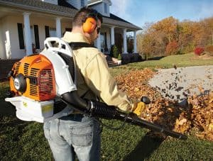 The Stihl BR 350 in use