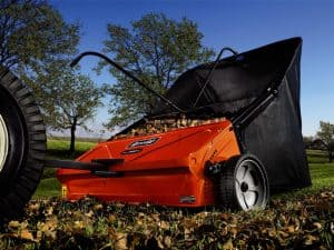 Picture of a tow-behind lawn sweeper